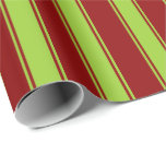 [ Thumbnail: Dark Red & Green Striped Pattern Wrapping Paper ]