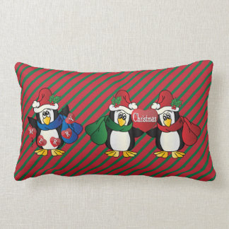 Dark Red & Green Stripes with Adorable Penguins Lumbar Pillow
