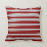 [ Thumbnail: Dark Red & Grey Lines Throw Pillow ]