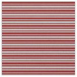 [ Thumbnail: Dark Red & Grey Stripes Fabric ]