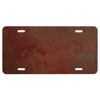 Dark Red Grungy License Plate