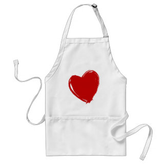 Dark Red Heart Adult Apron