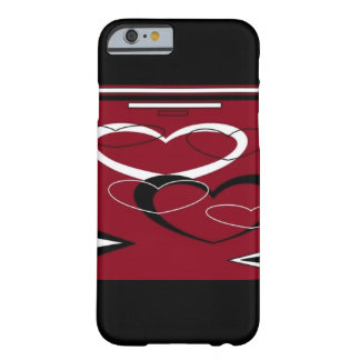 Dark Red Heart Design Barely There iPhone 6 Case