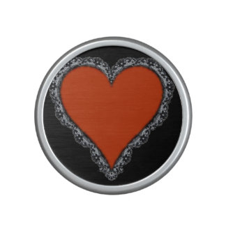 Dark Red Heart Surrounded by Black Lace Design Bluetooth Speaker