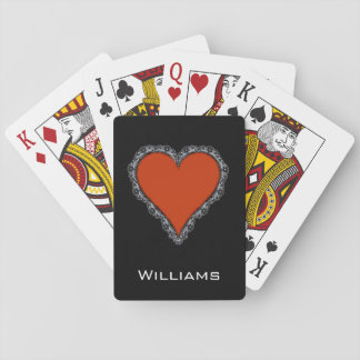 Dark Red Heart Surrounded by Black Lace Design Playing Cards