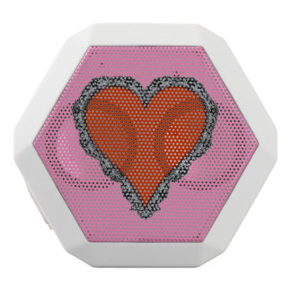 Dark Red Heart Surrounded by Black Lace Design White Bluetooth Speaker