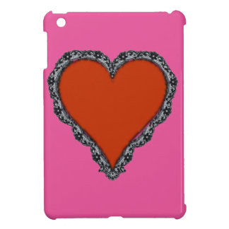 Dark Red Heart Surrounded by Black Lace iPad Mini Covers
