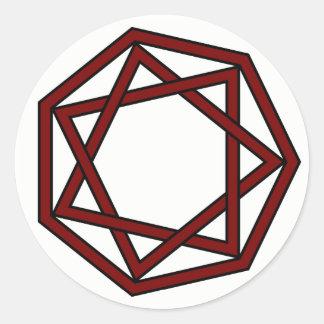 Dark Red Heptagram in Heptagon Classic Round Sticker