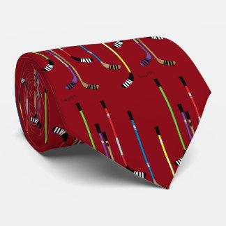 Dark Red Hockey Sticks Neck Tie