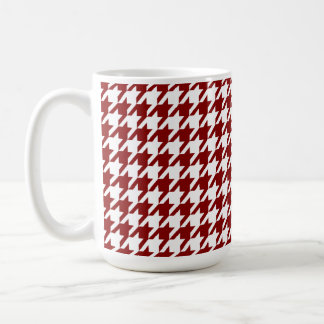 Dark Red Houndstooth Coffee Mug