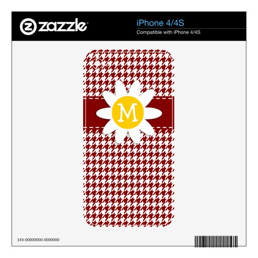 Dark Red Houndstooth; Daisy Decal For iPhone 4
