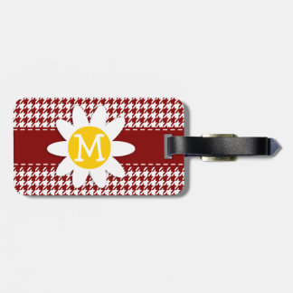 Dark Red Houndstooth Daisy Bag Tag