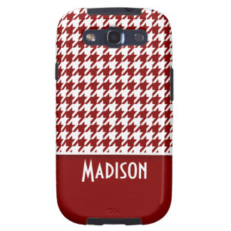 Dark Red Houndstooth Personalized Samsung Galaxy SIII Covers