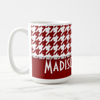 Dark Red Houndstooth; Personalized Classic White Coffee Mug