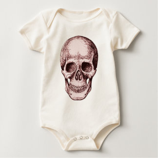 Dark Red Human skull Baby Bodysuit
