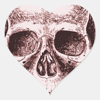Dark Red Human skull Heart Sticker