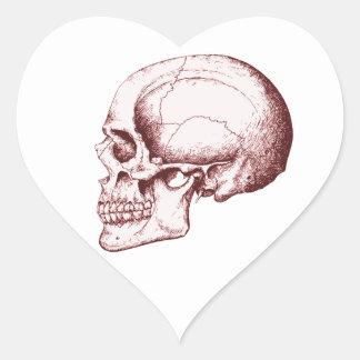 Dark Red Human Skull side Heart Sticker