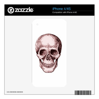 Dark Red Human skull Skin For iPhone 4