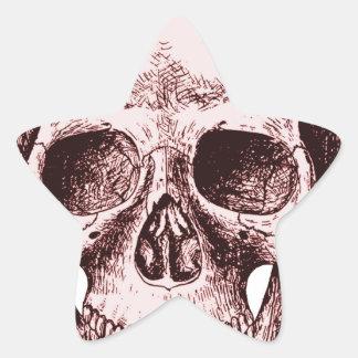Dark Red Human skull Star Sticker