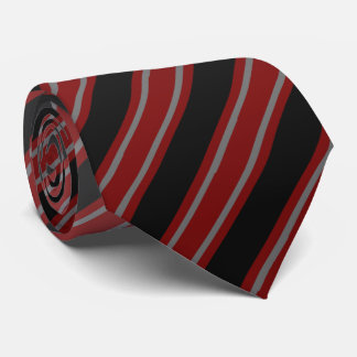 Dark Red Large Striped Neck Tie
