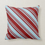 [ Thumbnail: Dark Red & Light Blue Stripes/Lines Pattern Pillow ]