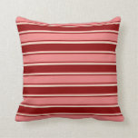 [ Thumbnail: Dark Red, Light Coral, and Beige Pattern Pillow ]