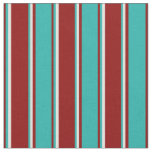 [ Thumbnail: Dark Red, Light Sea Green, and Light Yellow Lines Fabric ]