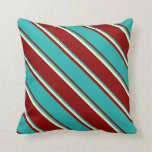 [ Thumbnail: Dark Red, Light Sea Green, and Light Yellow Lines Throw Pillow ]