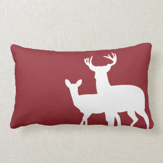 Dark Red Male Female Deer Pillow