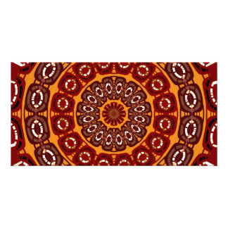 Dark red mandala card