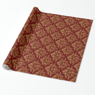 Dark Red & Metallic Gold Foil Look Floral Damasks Wrapping Paper