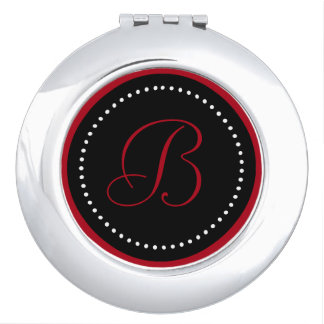 Dark Red Monogram on Black with White Dots Compact Mirror
