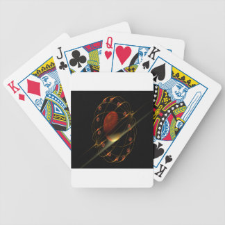 Dark red mystery globe in golden fractal cage bicycle playing cards