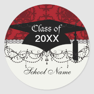 dark red on red damask two tone pattern graduation classic round sticker