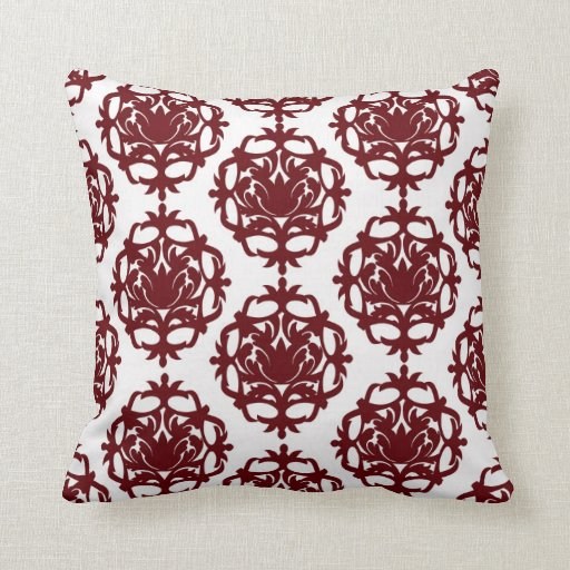 dark red on white leafy damask pattern throw pillows