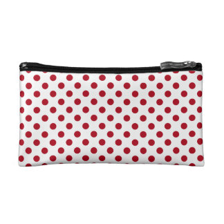Dark Red on White Polka Dots Cosmetic Bag