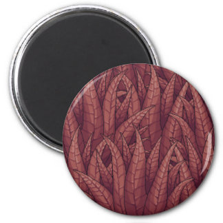 Dark Red Overlapping Plant Leaves Pixel Refrigerator Magnet