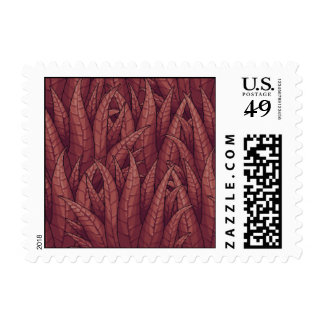 Dark Red Overlapping Plant Leaves Pixel Postage