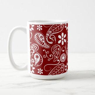 Dark Red Paisley; Floral Classic White Coffee Mug