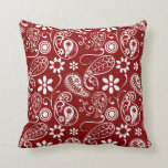 Dark Red Paisley; Floral Pillows