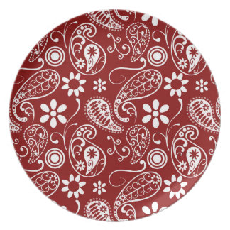 Dark Red Paisley; Floral Party Plates
