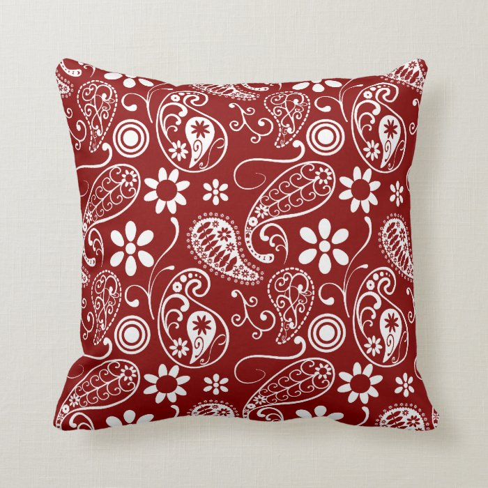 Dark Red Decorative Pillow : Dark Red Paisley; Floral Throw Pillow Zazzle