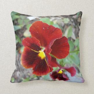 Dark Red Pansies Pillow