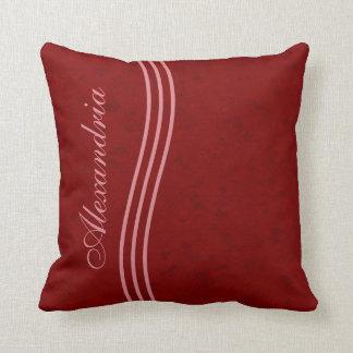 Dark Red Pattern Striped Monogram Throw Pillow