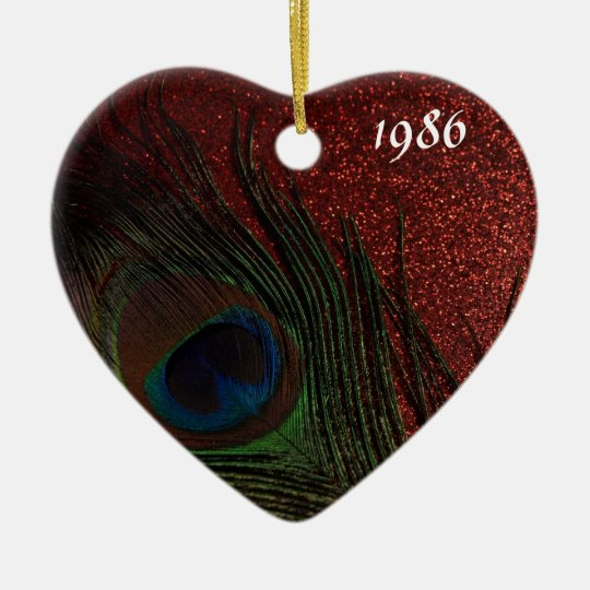 Dark Red Peacock Still Life Ceramic Ornament