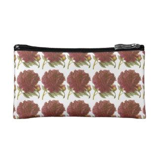 Dark Red Peony Floral Makeup Bag