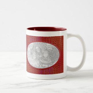dark red photo frame Two-Tone coffee mug