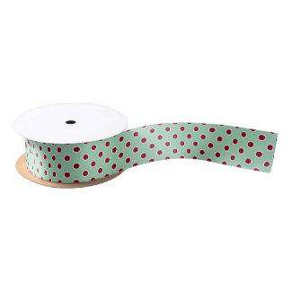 Dark Red Polka Dots on Mint Green Ribbon Satin Ribbon