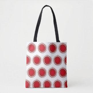 Dark Red Polka Dots Swirling Circles Tote Bag