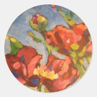Dark Red Poppy Painting Classic Round Sticker